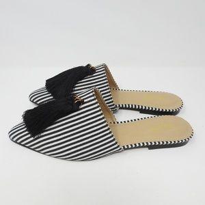RAID Karin Black Mono Striped Flat Mules NWOT
